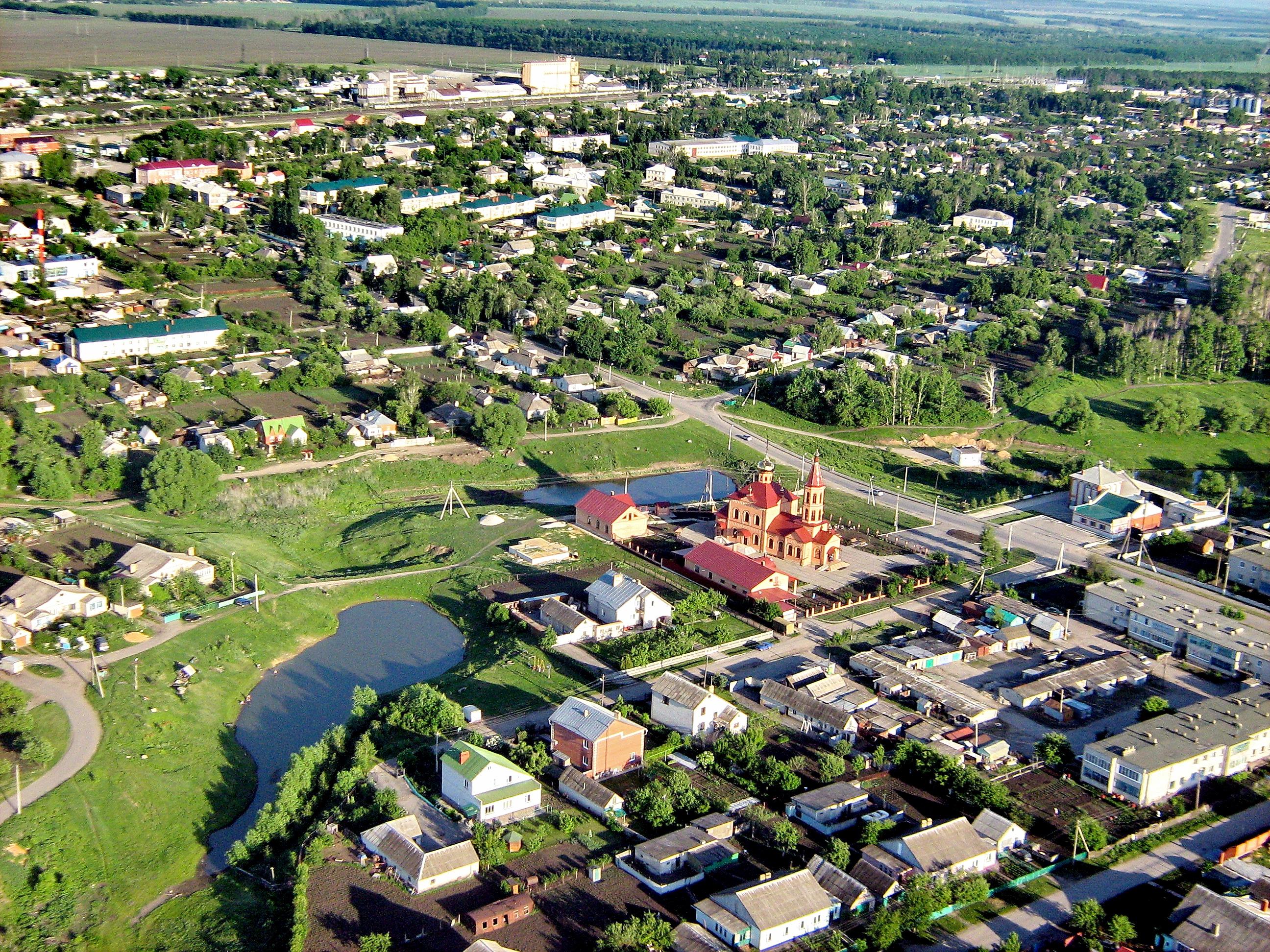 Троицкий храм с. Тербуны с высоты, фото